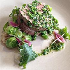 Olive Oil Poached Filet of Beef, Pearl Barley, Pickled Pearl Onions, and Broccoli di Cicco Vinaigrette by Daniel Corey, Luce Restaurant http://www.cuesa.org/recipe/olive-oil-poached-filet-beef-pearl-barley-pickled-pearl-onions-and-broccoli-di-cicco
