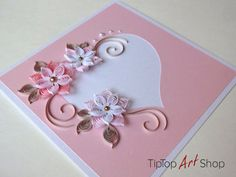 Quilled Paper Handmade Greeting Card in Pink with by TipTopArtShop