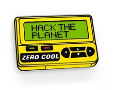 HACK THE PLANET Enamel Pin v2.0! Glow in the Dark Hackers Pager Hard Enamel 90s Cyberpunk Lapel Pin Hat Pin Flair