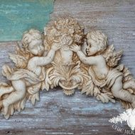 Shabby Chic Mouldings Furniture Appliques Mirror Frame Aged Cherubs Angel Cherub