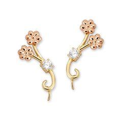 1/5ct. Twt. Diamond Flower Branches Ear Pin Earrings 14k Yellow