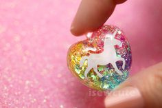 I Love Unicorns and Rainbows a sparkly heart resin by isewcute, $18.50