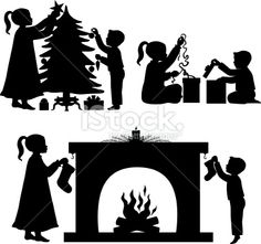 Children at Christmas silhouettes stock vector art 14442777 - iStock