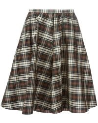 MICHAEL KORS COLLECTION MADRAS SILK-TAFFETA SKIRT