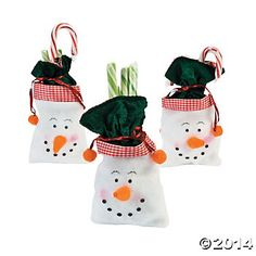 Snowman Drawstring 8.5 inch Material Bags 12 Party Supplies Canada - Open A Party