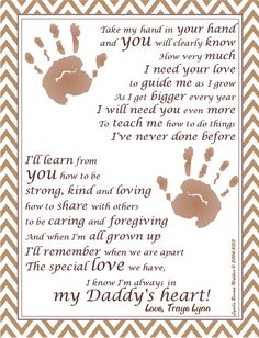 Take My Hand Daddy© Poem Personalize With Baby by KydittlezPrints