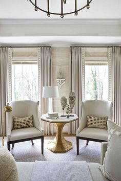 Window Treatment Ideas: Roman Shades and Drapery Panels Learn basic terminology about popular window treatments like roman shades, natural woven shades and drapery panels Curtains Living, Living Room Windows, Formal Living Rooms, Home Living Room, Living Room Designs, Living Room Decor, Living Room Window Treatments, Curtain Ideas For Living Room, Living Spaces