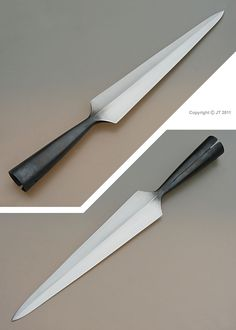 """Iron-age type spearhead, forged from single piece of steel. Hunting Spear, Viking Sword, Ninja Weapons, Blacksmith Projects, Medieval Weapons, Iron Age, Fantasy Weapons, Knives And Swords, Knife Making"