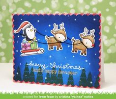 Lawn Fawn - Clear Acrylic Stamps - Toboggan Together
