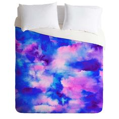 East Urban Home Jacqueline Maldonado Someday Some Sky Duvet Cover Size: Twin/Twin XL Floral Comforter, Ruffle Bedding, Comforter Sets, Blue Duvet, King Size Duvet Covers, Duvet Cover Sizes, Sky Design, Cotton Sheet Sets, Quilt Sets