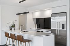 Built by Jennian Homes Canterbury. View Tues-Fri and Sunday Featuring the Fisher & Paykel French Door Fridge/Freezer with Ice & Water Display Homes, Canterbury, New Builds, French Doors, New Homes, Interior Design, Freezer, Building, Fisher