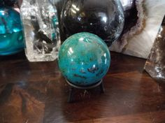Bright Turquoise Chrysocolla and Malachite Sphere from Peru