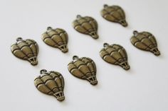 Bronze Hot Air Balloon Charms Set of 8 Jewelry by TheBlueBeadle