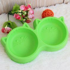 Pet Produk Perlindungan Lingkungan tidak beracun Plastik Cat Wajah Pet Mangkuk Makanan Anjing Mangkuk Ganda Peralatan Makan Pet FeedingTool YL4