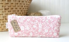 Pink and White Floral Cute Pencil Case Long Zipper Pouch