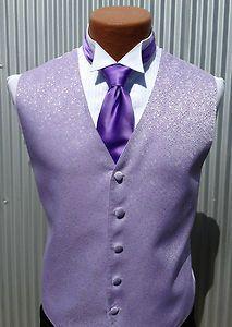 Mens Lilac Light Purple Diamond Tuxedo Fullback Vest Tie Prom ...