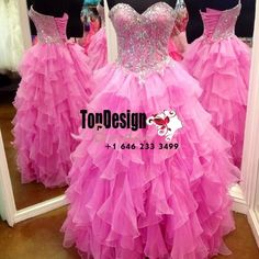 Wholesale 2017 Sweet 15 Dress Fashion Ball Gown Prom Dress Sleeveless Organza Ruffles Beading Quinceanera Gown