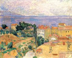 Paul Cézanne.  Blick auf L'Estaque (Gegend bei Marseille). 1882-1883, Öl auf Leinwand, 60 × 73 cm. Privatsammlung. Landschaftsmalerei. Frankreich. Postimpressionismus.  KO 01052