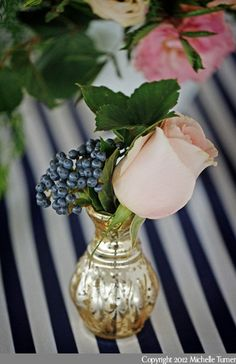 Roses + Berries in Mirrorball Vases I Maine Seasons Events I #centerpieces #bridalshower