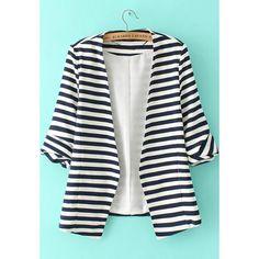 SheIn(sheinside) Navy White Striped Long Sleeve Fitted Blazer ($25) ❤ liked on Polyvore featuring outerwear, jackets, blazers, sheinside, anzüge, blazer, navy, navy jacket, navy blue blazer and stripe jacket