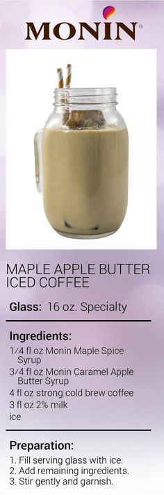 Create this delicious Maple Apple Butter Iced Coffee in minutes using Monin Gourmet Syrup. Add a splash of Monin to coffee, cocktails, teas, lemonades and more. Coffee Art, Iced Coffee, Apple Butter, Cold Brew, Caramel Apples, Lemonade, Brewing, Spices, Tea