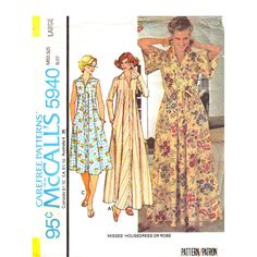 1970s Vintage Caftan Pattern McCalls 5940 Zipper Front Housedress, Robe Pockets Size 18 20 UNCUT