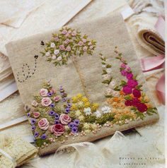 floral embroidery needlecase - hollyhocks are sweet Hand Embroidery Stitches, Silk Ribbon Embroidery, Crewel Embroidery, Cross Stitch Embroidery, Embroidery Patterns, Garden Embroidery, Embroidery Supplies, Art Patterns, Japanese Embroidery