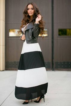Black And White Stripe Accordion Pleat Maxi Skirt