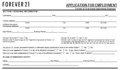 forever 21 application Forever 21 Job Application Form