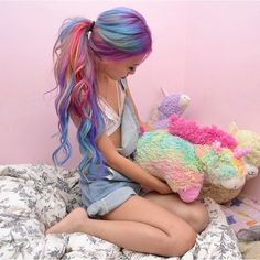 Cute rainbow long curly hair with ponytail by Hieucow