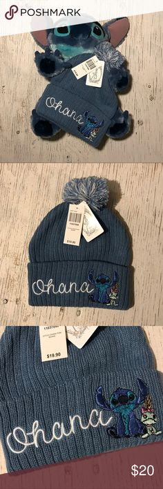 "Disney Ohana Lilo Stitch Scrump Beanie Winter Hat BNWT powder blue beanie with ""Ohana"", Stitch and Scrump embroidered on the flap. Blue and white Pom on top. Offers accepted - bundle and save! Disney Accessories Hats"