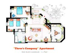 TV Floor plan | Three's company Apartment