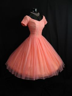 Vintage 1950's 50s Bombshell Coral PINK Salmon Ruched Chiffon Circle Skirt Party Prom Wedding Dress. $349.99, via Etsy.