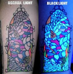 Colouful mosaic glowing tattoo