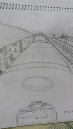 You are sitting on the roof of a rail coach. the train is on halt at the station and you are looking at the busy platform. 2 Point Perspective Drawing, Perspective Art, Easy Drawings, Pencil Drawings, Composition Drawing, Architecture Drawing Sketchbooks, My Point Of View, Architectural Sketches, Question Paper