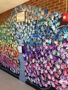 collaborative mural on side of the lower pod with all the students hands. trunk… collaborative mural on side of the lower pod with all the students hands. trunk and swirls black Group Art Projects, School Art Projects, Collaborative Art Projects For Kids, School Murals, Art School, School Hall, School Auction, Middle School, High School