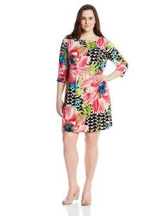 Tiana B Women's 3/4 Sleeve Printed Boatneck Dress