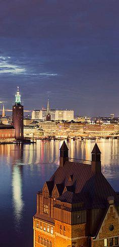 Sharing! Stockholm, norrmälarstrand, vy, natt stadshuset, sevärdhet, landmärke, stad