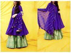 Bespoke outfits by 'इत्र', Pure banarsi lehenga with silk angrakha #bridesmaids…