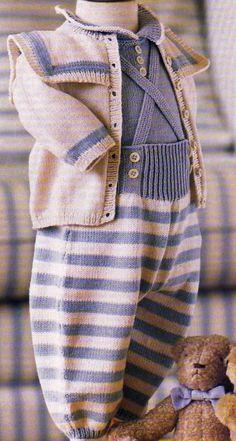 Joli ensemble à tricoter pour bébé : Tailles : 3 - 6 et 12 mois Aiguilles N° 2,5 et 3 La combinaison, les chaussons et le bonnet bleus La combinaison et les chaussons roses La combinaison blanche La combinaison brodée La barboteuse et la brassière La...