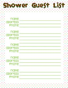 Baby Shower Guest List Printable | Guest list