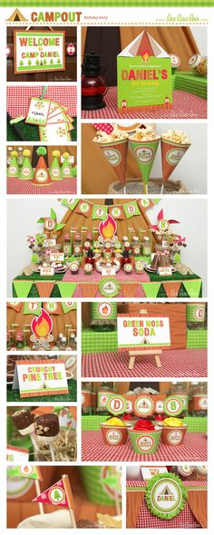 Campout Birthday Party Package Collection Set Mega Personalized Printable Design by leelaaloo.com