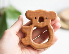 Organic Wooden Teether. Beech Coala Teething Toy. Hand-carved Teether. Natural Baby Toy. Eco Friendly Infant Toy. Newborn gift.