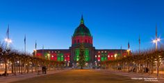 City hall dresses up with red and green lights for the holiday season.  Photo Credit: David Yu Photography https://www.flickr.com/photos/davidyuweb/