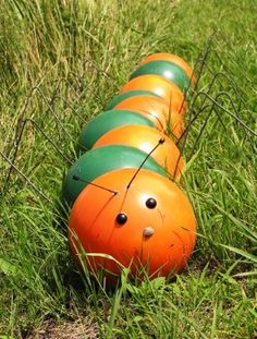 Bowling Ball Yard Art another idea for bowling balls