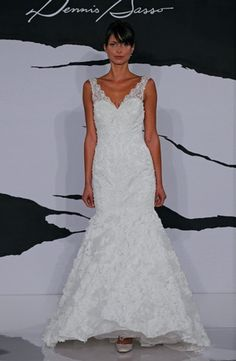 V-Neck Mermaid Wedding Dress  with Dropped Waist in Lace. Bridal Gown Style Number:32286987