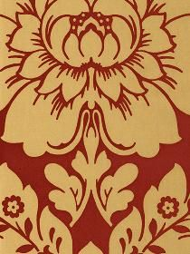 Wallpaper Damasks Scrolls Red Red And Gold Satin
