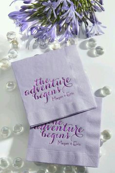 Custom Lavender Cocktail Napkins With Satin Plum