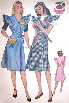 Vintage 1940's Apron Pattern UNCUT Front Wrap + Tie w Ruffles UNUSED Orange & Cherry Blossom Appliques Kaumagraph Transfers B36 McCalls 1135...
