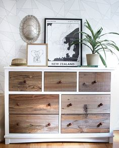 /zevyjoy/ revealed her son's new bedroom update! She was able to chalk paint the entire dresser and used Reclaimed Sierra Silver on the drawer fronts to give it a little refresh.